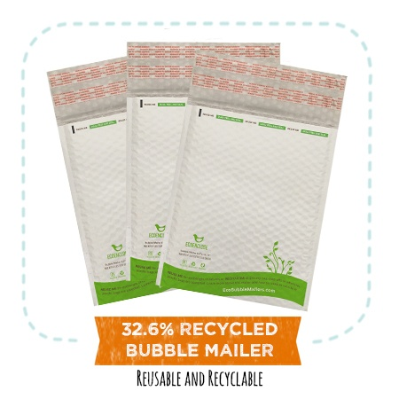 EcoEnclose's 32.6% recycled poly bubble mailers